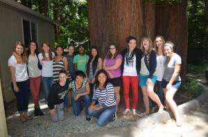 Rebekah and some of her classmates at a Senior Class Retreat this summer.